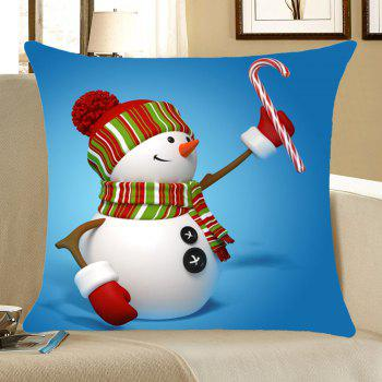 Christmas Snowman Pattern Pillow Case - COLORFUL W18 INCH * L18 INCH
