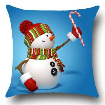 Snowman Pattern Christmas Linen Pillow Case - COLORFUL W18 INCH * L18 INCH