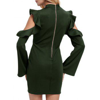Mock Neck Ruffles Cut Out Gaine Robe - Vert L