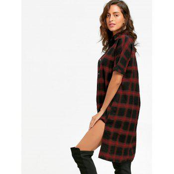Button Up Plaid Shirt Dress - CHECKED CHECKED