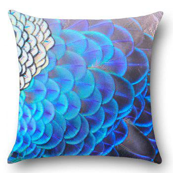 Peacock Feathers Print Square Throw Pillow Case - W18 INCH * L18 INCH W18 INCH * L18 INCH