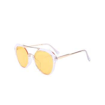 Metal Full Frame Hollow Out Crossbar Sunglasses -  LIGHT YELLOW