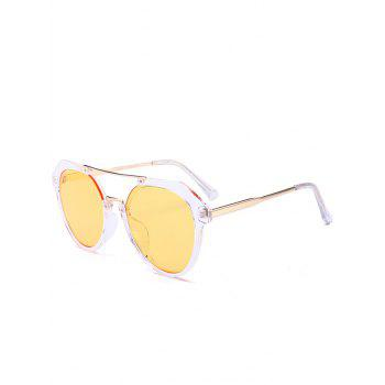 Metal Full Frame Hollow Out Crossbar Sunglasses - LIGHT YELLOW LIGHT YELLOW