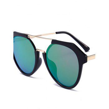 Metal Full Frame Hollow Out Crossbar Sunglasses - LIGHT GREEN