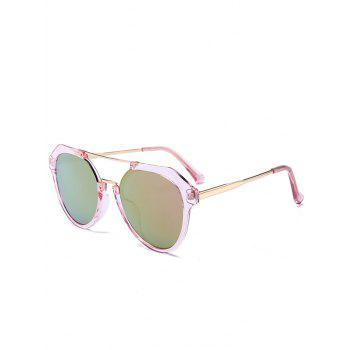Metal Full Frame Hollow Out Crossbar Sunglasses - GOLD FRAME + PURPLE GREEN LENS GOLD FRAME / PURPLE GREEN LENS