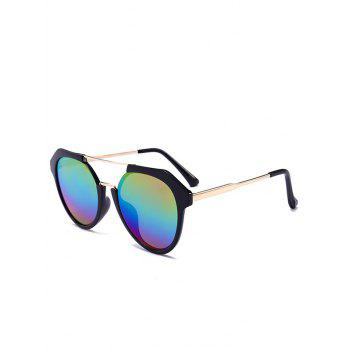 Metal Full Frame Hollow Out Crossbar Sunglasses - COLOR COLOR