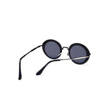 Vintage Metal Full Frame Round Sunglasses - DARK GREY