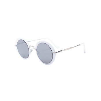 Vintage Metal Full Frame Round Sunglasses -  SILVER