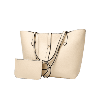 2 Pieces Rivets Shoulder Bag Set - OFF WHITE