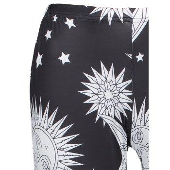 High Waisted Sun Moon Print Leggings maigres - Noir M