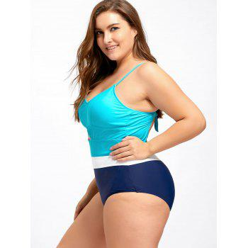 Plus Size Keyhole Backless One Piece Swimwear - 4XL 4XL
