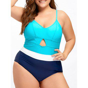 Plus Size Keyhole Backless One Piece Swimwear - LAKE BLUE 4XL