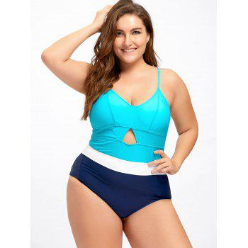 Plus Size Keyhole Backless One Piece Swimwear - 5XL 5XL