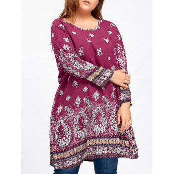 Plus Size Floral Print Longline Blouse - ROSE RED ROSE RED