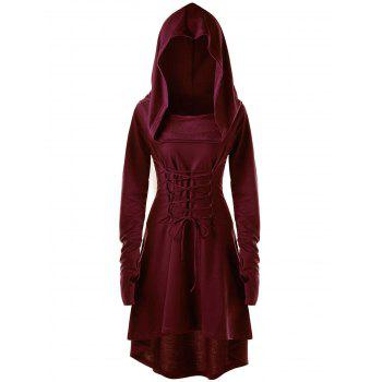 Lace Up Hooded High Low Dress - WINE RED 2XL