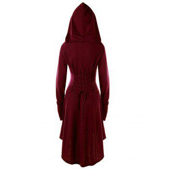 Lace Up Hooded High Low Dress - WINE RED WINE RED