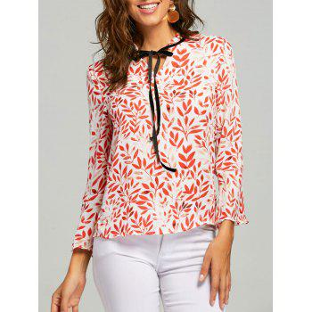 Leaf Print Self Tie Blouse - RED XL