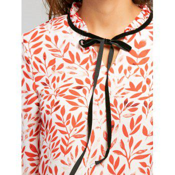 Leaf Print Self Tie Blouse - XL XL