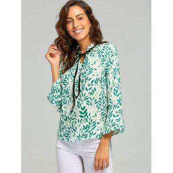 Leaf Print Self Tie Blouse - L L