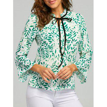 Leaf Print Self Tie Blouse - GREEN M
