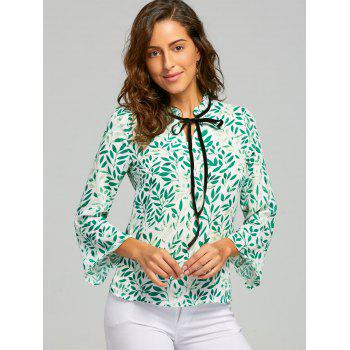Leaf Print Self Tie Blouse - M M