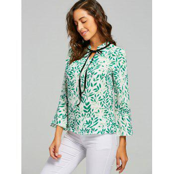 Leaf Print Self Tie Blouse - GREEN S