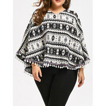 Plus Size Tassels Geometry Cape Sweater - COLORMIX XL