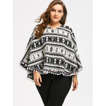 Plus Size Tassels Geometry Cape Sweater - XL XL