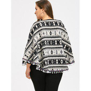 Taille supérieure Tassels Geometry Cape Sweater - multicolorcolore 5XL