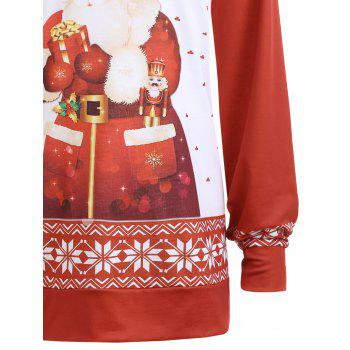 Plus Size Classic Christmas Santa Claus Printed Sweatshirt - 4XL 4XL