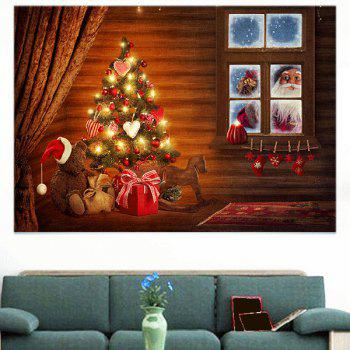 Chrismas Tree Santa Claus Print Wall Art Sticker - COLORFUL COLORFUL