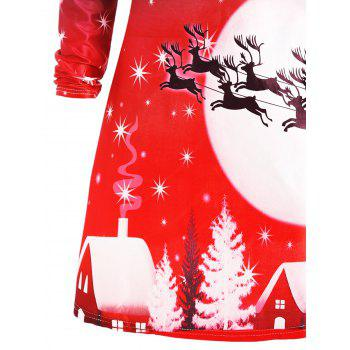 Christmas Deer Long Sleeve Dress - RED M