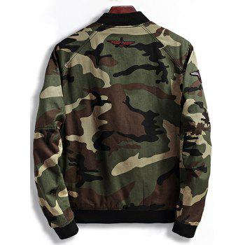Patch Design Zip Up Camouflage Bomber Jacket - COFFEE M