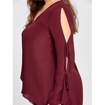 Plus Size Slit Tie Sleeve V Neck Blouse - WINE RED WINE RED
