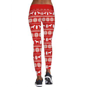 Christmas Snowflake Tree Print Skinny Leggings - RED RED