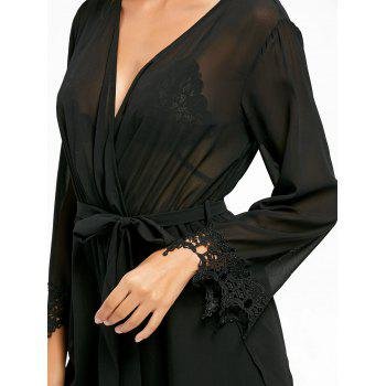 Sheer Back Slit Surplice Romper - BLACK BLACK