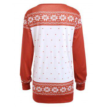 Plus Size Classic Christmas Santa Claus Printed Sweatshirt - RED RED