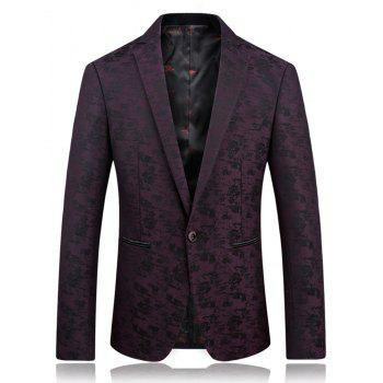 Lapel Jacquard Edging One Button Blazer - PURPLISH RED PURPLISH RED