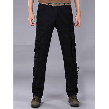 Pleat Pockets Straight Leg Cargo Pants - BLACK BLACK