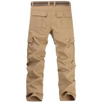 Pockets Straight Leg Cargo Pants - KHAKI KHAKI