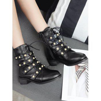 Stack Heel Faux Gem Ankle Boots - BLACK 39