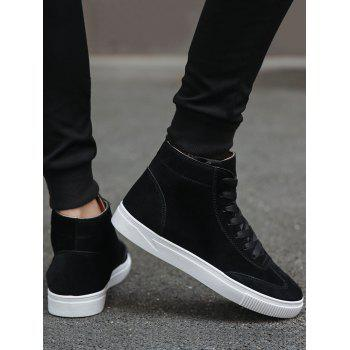 Lace Up High Top Skate Shoes - BLACK 43