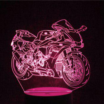 Colorful LED 3D Visual Touch Remote Control Motorcycle Night Light - TRANSPARENT
