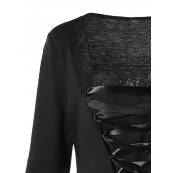 Halloween Plus Size Bell Sleeve Lace Up Top - BLACK 2XL