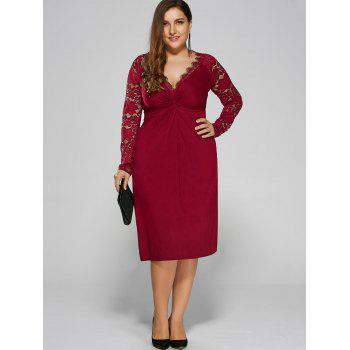 Plus Size Twist Front Lace Insert Fitted Dress - RED XL
