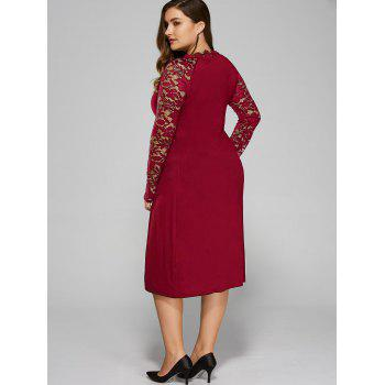 Plus Size Twist Front Lace Insert Fitted Dress - RED 2XL