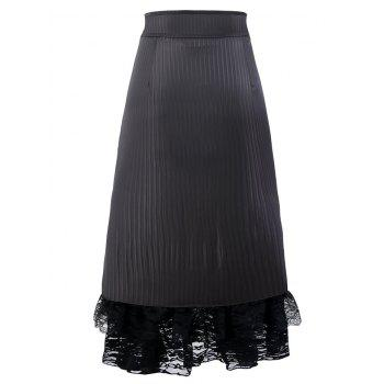 Lace Ruffles Hem Midi Skirt - BLACK S