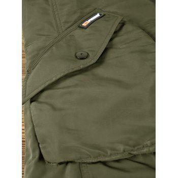 Flap Pockets Zipper Up Hooded Parka Coat - ARMY GREEN 2XL