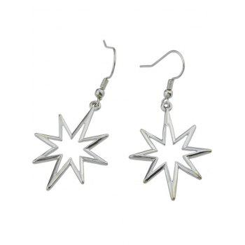 Alloy Geometric Hollow Out Pendant Earrings - SILVER