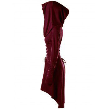 Lace Up Hooded High Low Dress - WINE RED XL